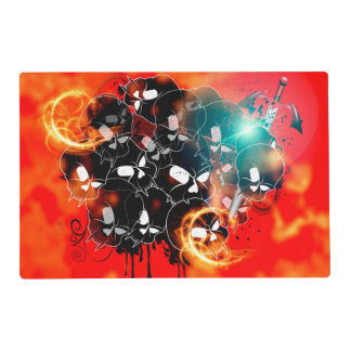 Skull in black with sword laminated place mat