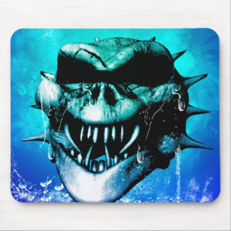 Skull in blue mouse pad