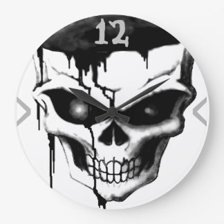"""Skull in charcoal"" (AOM Design) Large Clock"
