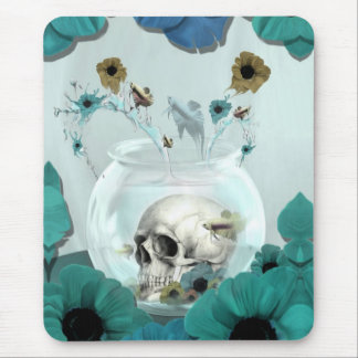 Skull in fish bowl illustration mouse pad