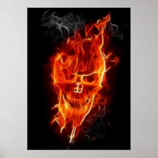 Skull in Flames Poster