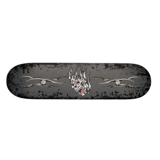 Skull in Flames Skateboard