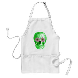 SKULL in GREEN WITH VIOLET DAISIES Apron