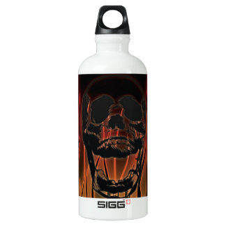 Skull in Hell's Flames Customizable Aluminum Water Bottle
