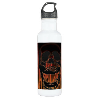 Skull in Hell's Flames Customizable Stainless Steel Water Bottle