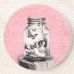 Skull in jar illustration drink coasters