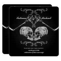 """Skull in Love"" Vintage Skeletons Black Wedding Invitation"