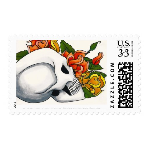 Skull in Profile with Yellow and Orange Roses Postage Stamps