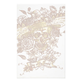Skull In Sombrero With Flowers Day Of The Dead Stationery