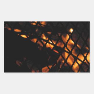 Skull In The Fire Photograph Rectangular Sticker