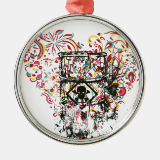 skull in the glass, vintage heart metal ornament