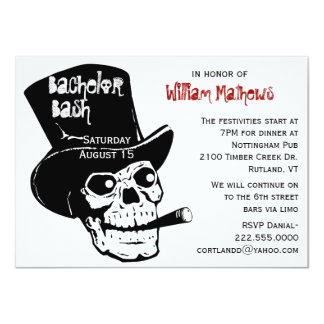 Skull in Top Hat Bachelor Party Invitation