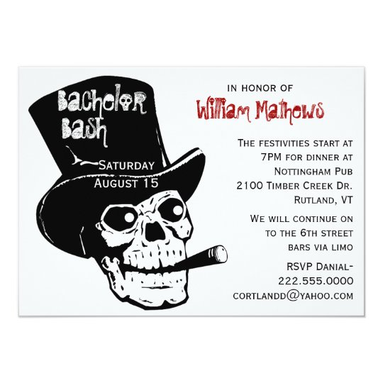 Skull in Top Hat Bachelor Party Invitation – Hat Party Invitation