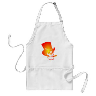 Skull in Top Hat by Chillee Wilson Adult Apron