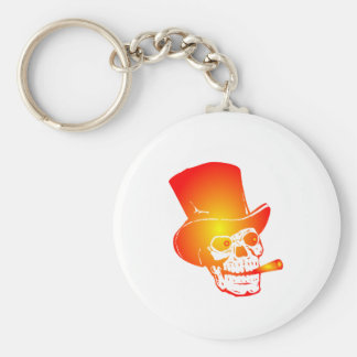 Skull in Top Hat by Chillee Wilson Keychain