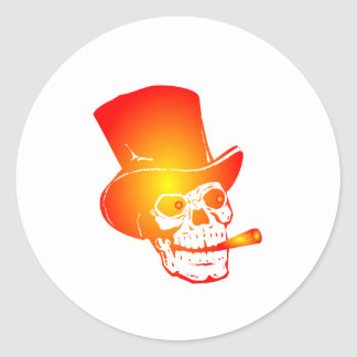 Skull in Top Hat by Chillee Wilson Round Stickers