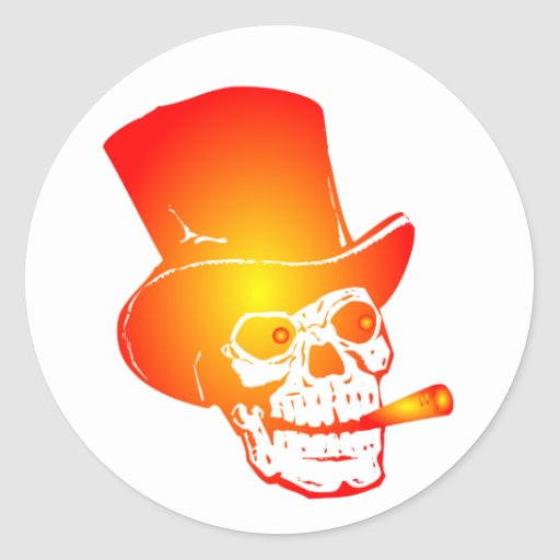 Skull in Top Hat by Chillee Wilson Stickers