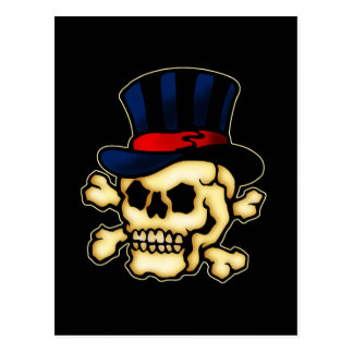 Skull in Top Hat Postcard