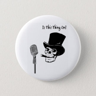 Skull in Top Hat with Microphone Button