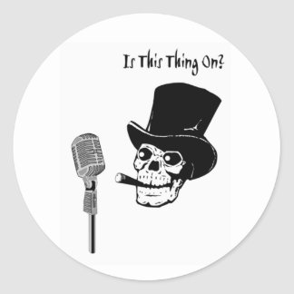 Skull in Top Hat with Microphone Classic Round Sticker