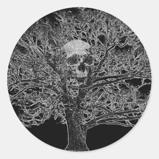 skull in tree classic round sticker