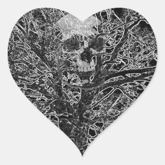 skull in tree heart sticker
