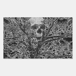 skull in tree rectangular sticker
