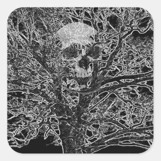 skull in tree square sticker