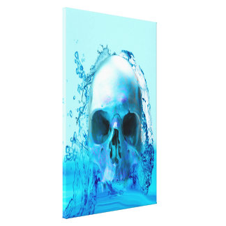 'Skull in Water' Stretched Canvas Print