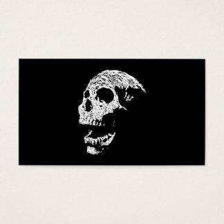 Skull in White on Black. Business Card