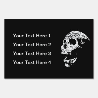 Skull in White on Black. Lawn Signs