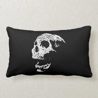 Skull in White on Black. Throw Pillow