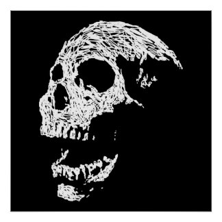 Skull in White on Black. Poster