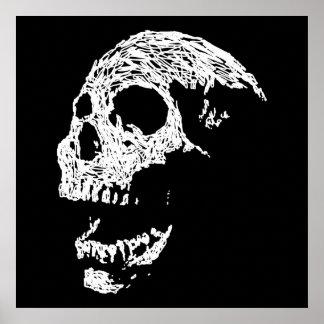 Skull in White on Black. Posters