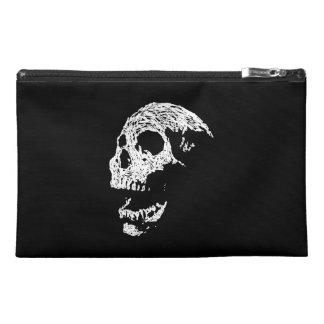 Skull in White on Black. Travel Accessory Bag