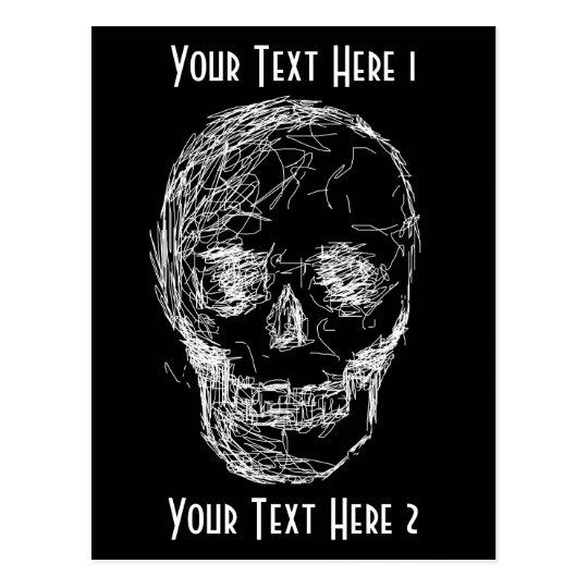 Skull, in White. Postcard