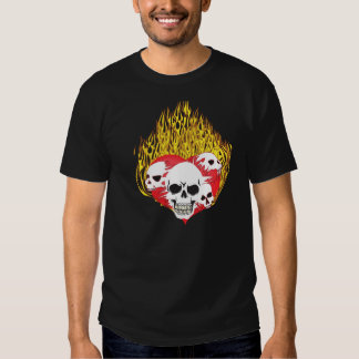 Skull Infested Flaming Heart Tattoo Shirt
