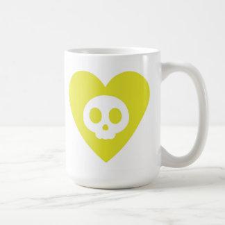 Skull Inside a Yellow Heart Cartoon Mug