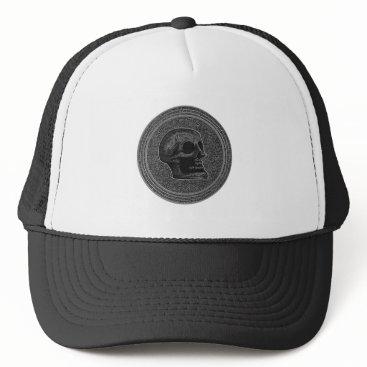Halloween Themed SKULL - Inside Stone Background Trucker Hat