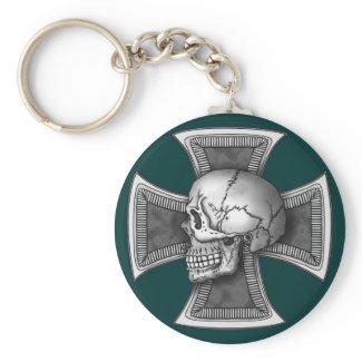 Skull iron-cross keychain
