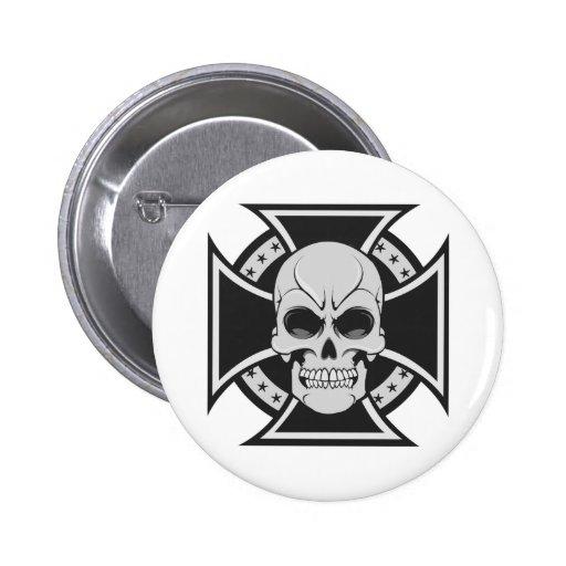 Skull & Iron Cross: Vector Drawing: Pinback Button