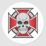 Skull & Iron Cross: Vector Drawing: Classic Round Sticker