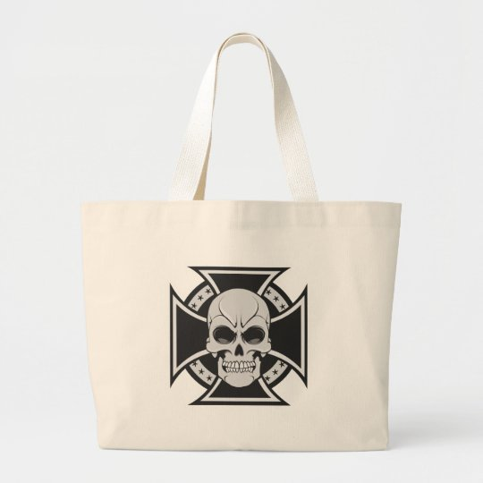 Skull & Iron Cross: Vector Drawing: Large Tote Bag