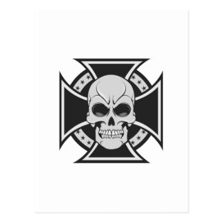 Skull & Iron Cross: Vector Drawing: Postcard