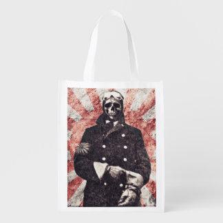 Skull kamikaze reusable grocery bag