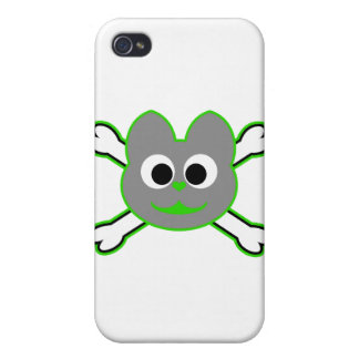 Skull Kat Green - Gray Cover For iPhone 4