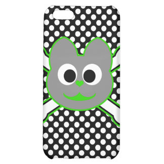 Skull Kat Green - Gray Cover For iPhone 5C
