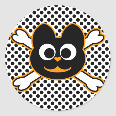 skull Kat orange Sticker