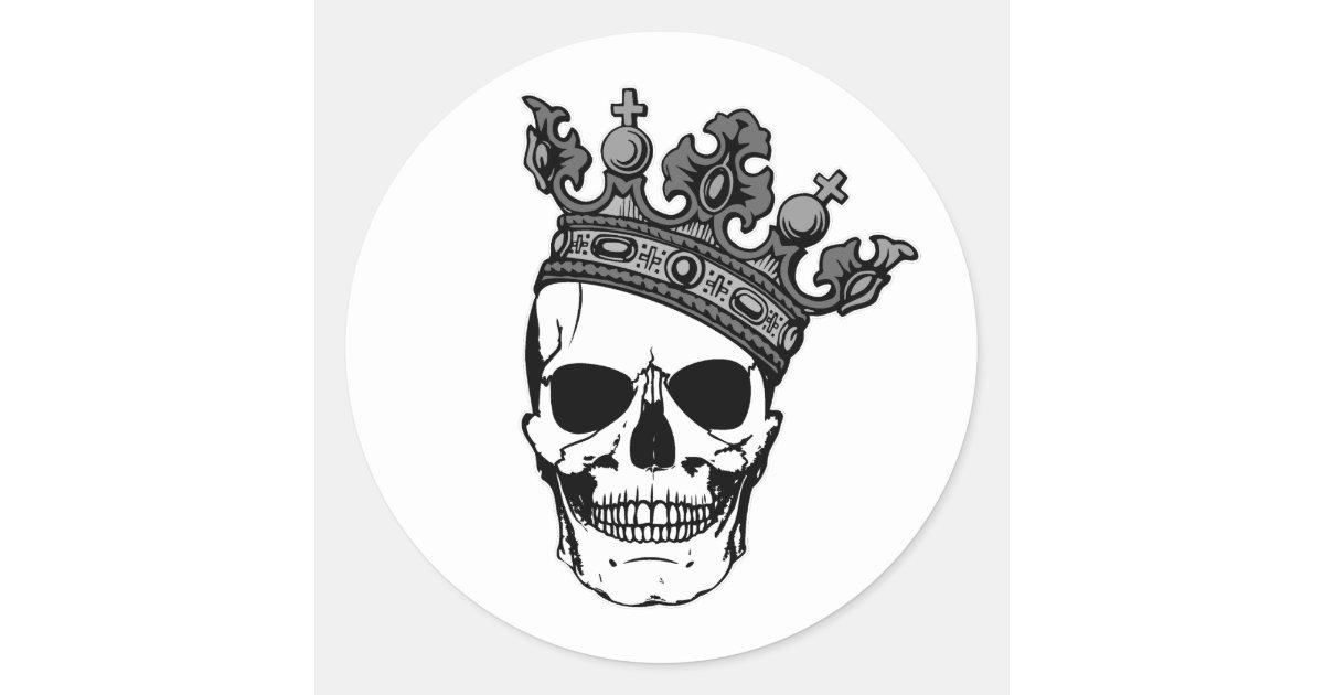 Skull King Classic Round Sticker | Zazzle