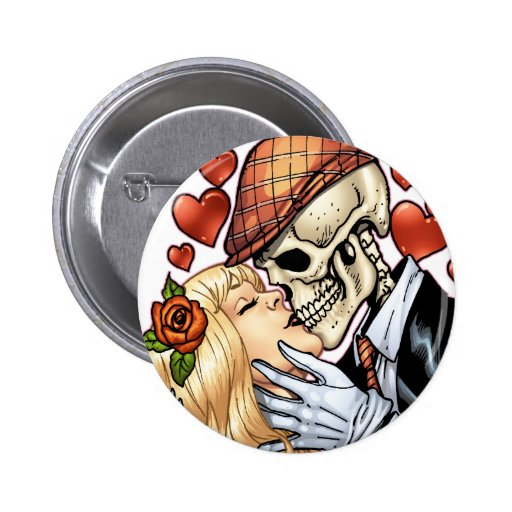 Skull Kiss with Hearts and Roses by Al Rio Buttons